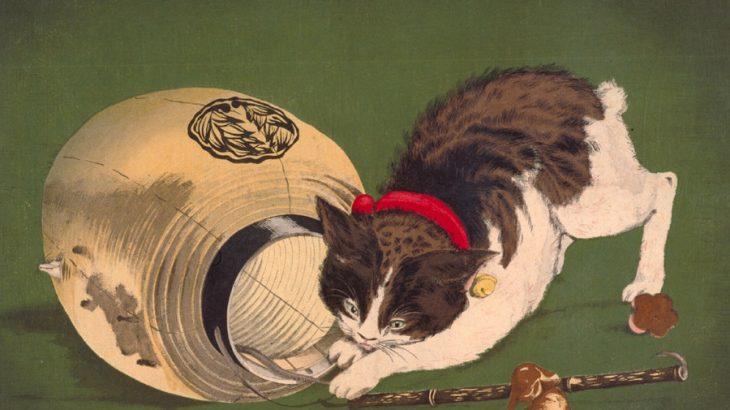 浮世絵に描かれた猫 じゃれる