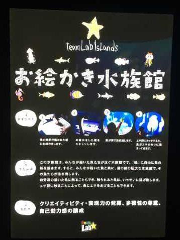ららぽーと富士見 チームラボ お絵かき水族館の案内板