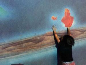 ららぽーと富士見 チームラボ 象形文字の壁 炎のエフェクト